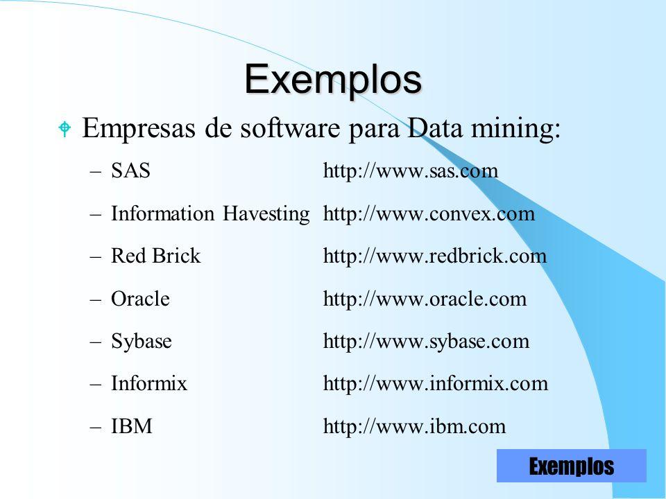 Exemplos W Empresas de software para Data mining: –SAShttp://www.sas.com –Information Havestinghttp://www.convex.com –Red Brickhttp://www.redbrick.com