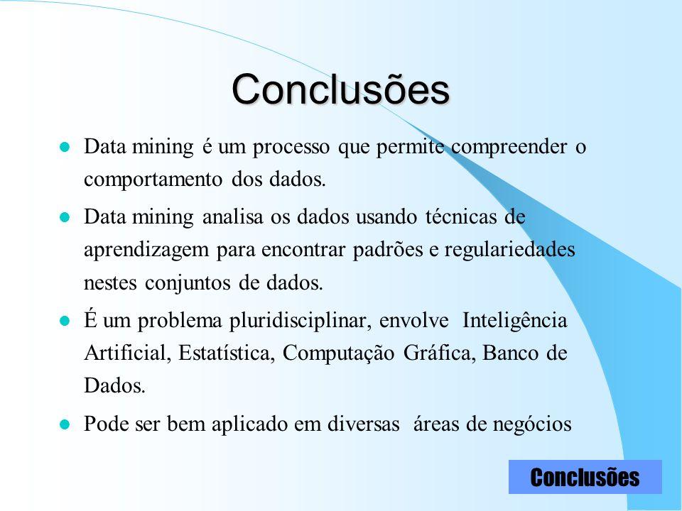 Conclusões l Data mining é um processo que permite compreender o comportamento dos dados. l Data mining analisa os dados usando técnicas de aprendizag
