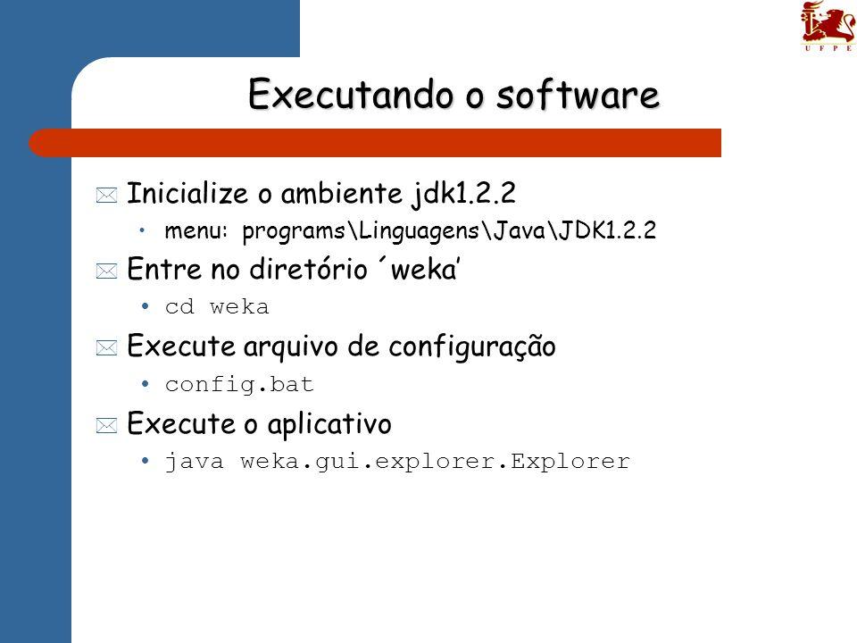Executando o software * Inicialize o ambiente jdk1.2.2 menu: programs\Linguagens\Java\JDK1.2.2 * Entre no diretório ´weka cd weka * Execute arquivo de