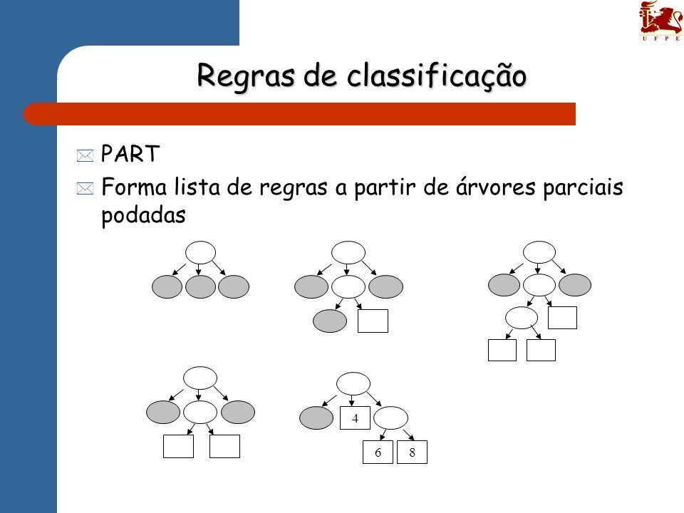 Regras de classificação * PART * Forma lista de regras a partir de árvores parciais podadas 4 68