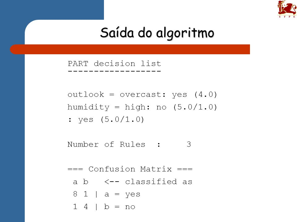 Saída do algoritmo PART decision list ------------------ outlook = overcast: yes (4.0) humidity = high: no (5.0/1.0) : yes (5.0/1.0) Number of Rules :