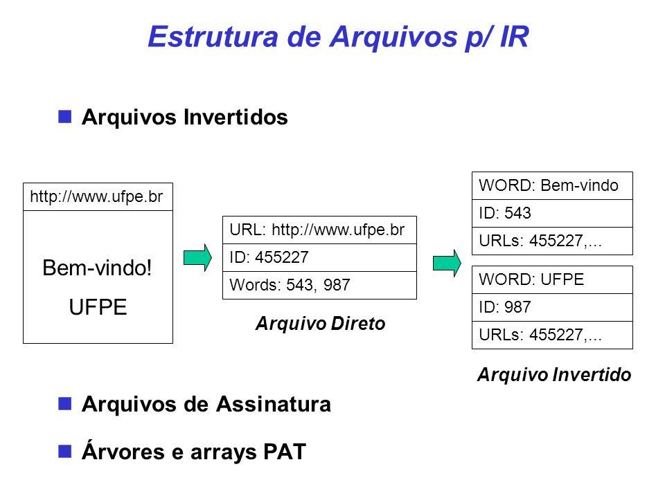 Bem-vindo! UFPE http://www.ufpe.brURL: http://www.ufpe.br ID: 455227 Words: 543, 987 Arquivo Direto WORD: Bem-vindo ID: 543 URLs: 455227,... WORD: UFP