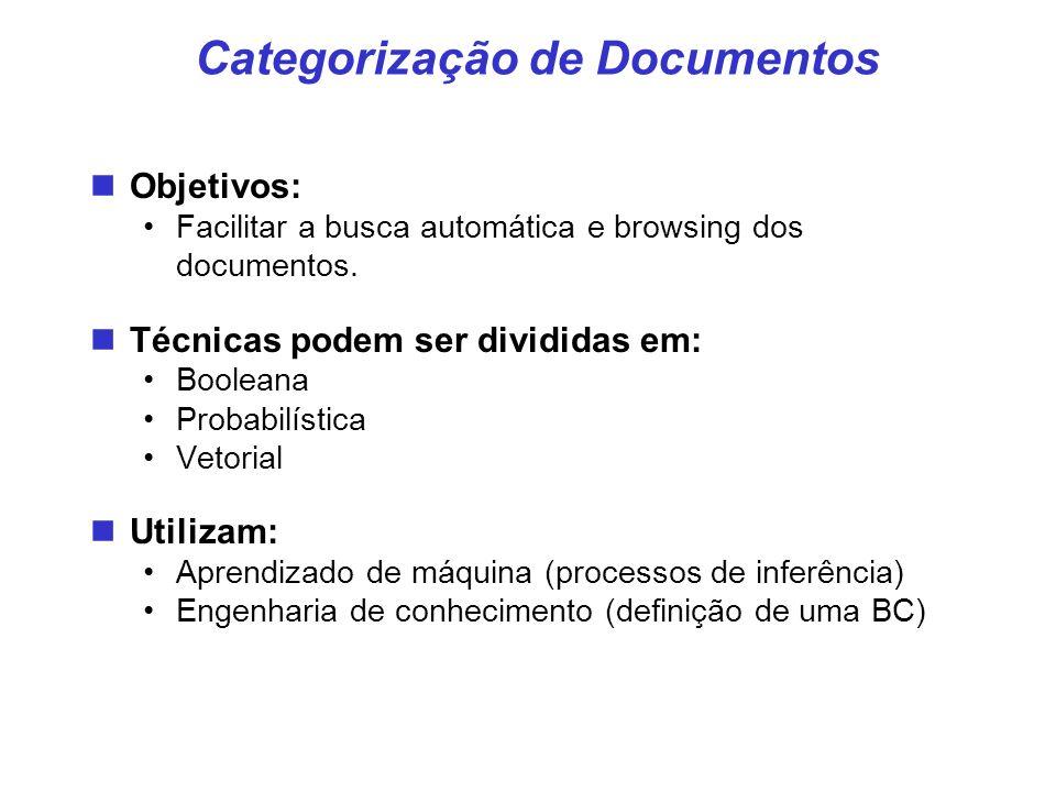 Categorização de Documentos Objetivos: Facilitar a busca automática e browsing dos documentos. Técnicas podem ser divididas em: Booleana Probabilístic