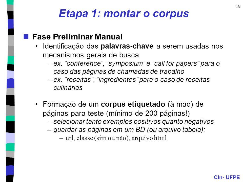 CIn- UFPE 19 Etapa 1: montar o corpus Fase Preliminar Manual Identificação das palavras-chave a serem usadas nos mecanismos gerais de busca –ex. confe