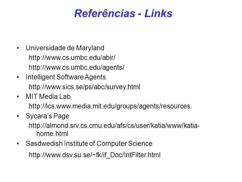 Universidade de Maryland http://www.cs.umbc.edu/abir/ http://www.cs.umbc.edu/agents/ Intelligent Software Agents http://www.sics.se/ps/abc/survey.html MIT Media Lab http://lcs.www.media.mit.edu/groups/agents/resources.
