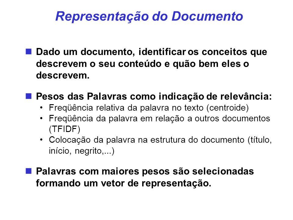 Representação do Documento Dado um documento, identificar os conceitos que descrevem o seu conteúdo e quão bem eles o descrevem. Pesos das Palavras co