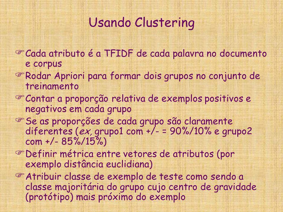 Usando Clustering Cada atributo é a TFIDF de cada palavra no documento e corpus Rodar Apriori para formar dois grupos no conjunto de treinamento Conta