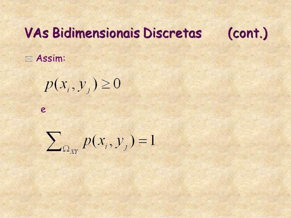 VAs Bidimensionais Discretas(cont.) * Assim: e