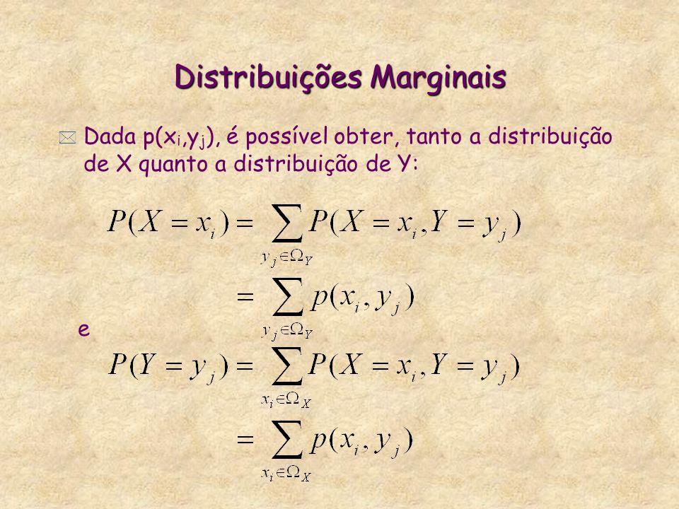 Distribuições Marginais * Dada p(x i,y j ), é possível obter, tanto a distribuição de X quanto a distribuição de Y: e