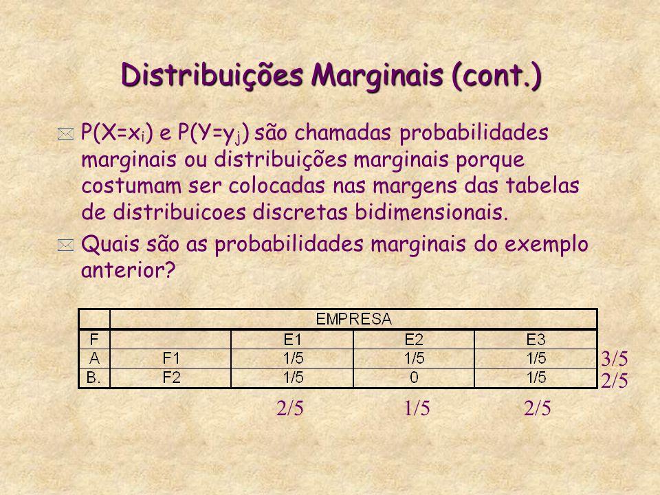 Distribuições Marginais (cont.) * P(X=x i ) e P(Y=y j ) são chamadas probabilidades marginais ou distribuições marginais porque costumam ser colocadas