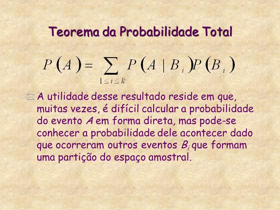 Teorema da Probabilidade Total * A utilidade desse resultado reside em que, muitas vezes, é difícil calcular a probabilidade do evento A em forma dire