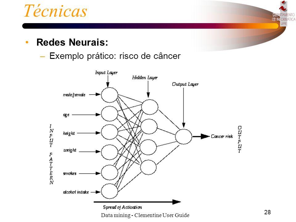 27 Técnicas Redes Neurais: Para construir um modelo neural, nós primeiramente