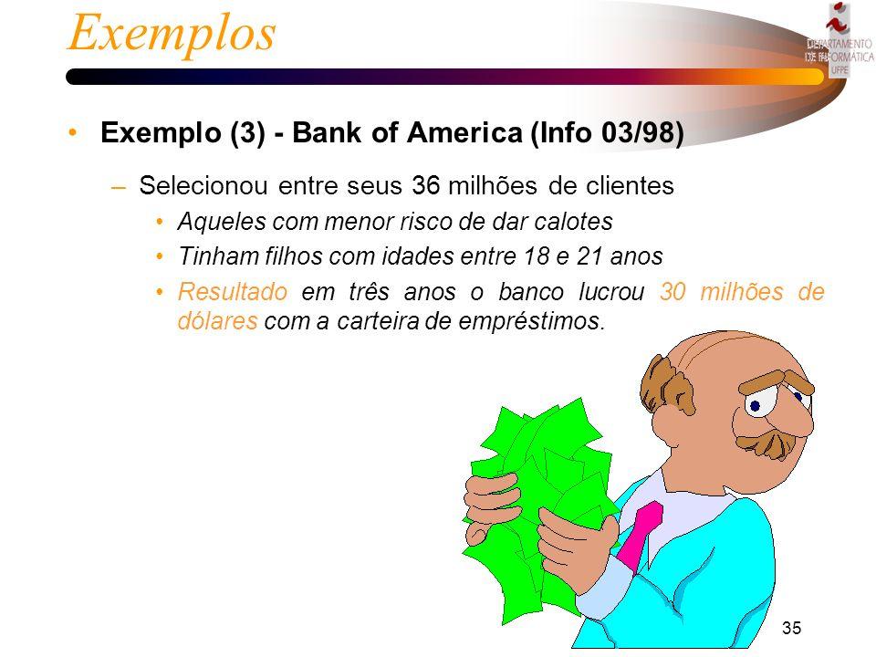 34 Exemplos Exemplo (2) - Lojas Brasileiras (Info 03/98) –Aplicou 1 milhão de dólares em técnicas de data mining –Reduziu de 51000 produtos para 14000
