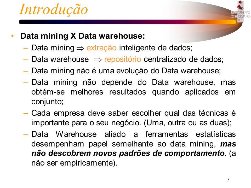 6 Introdução Uma empresa utilizando data mining é capaz de: –Criar parâmetros para entender o comportamento do consumidor; –Identificar afinidades ent