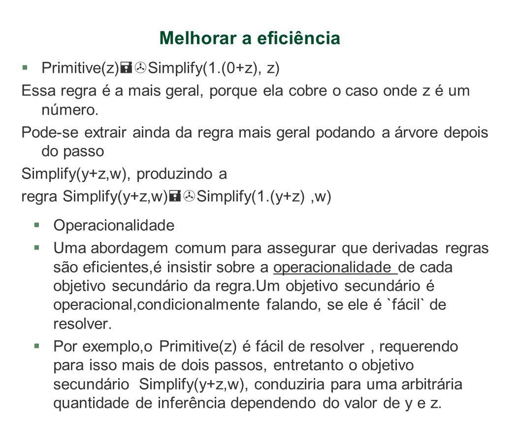 Melhorar a eficiência §Primitive(z) Simplify(1.(0+z), z) Essa regra é a mais geral, porque ela cobre o caso onde z é um número. Pode-se extrair ainda