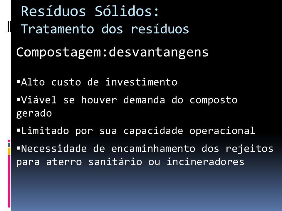 Compostagem:desvantangens Alto custo de investimento Viável se houver demanda do composto gerado Limitado por sua capacidade operacional Necessidade d