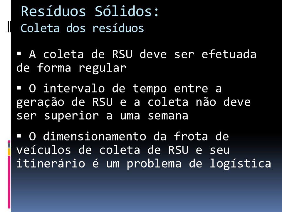 Resíduos Sólidos: Coleta dos resíduos A coleta de RSU deve ser efetuada de forma regular O intervalo de tempo entre a geração de RSU e a coleta não de