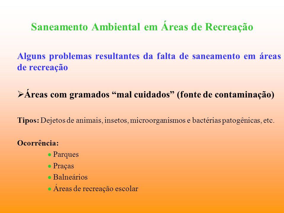 Saneamento Ambiental em Áreas de Recreação Alguns problemas resultantes da falta de saneamento em áreas de recreação Áreas com gramados mal cuidados (