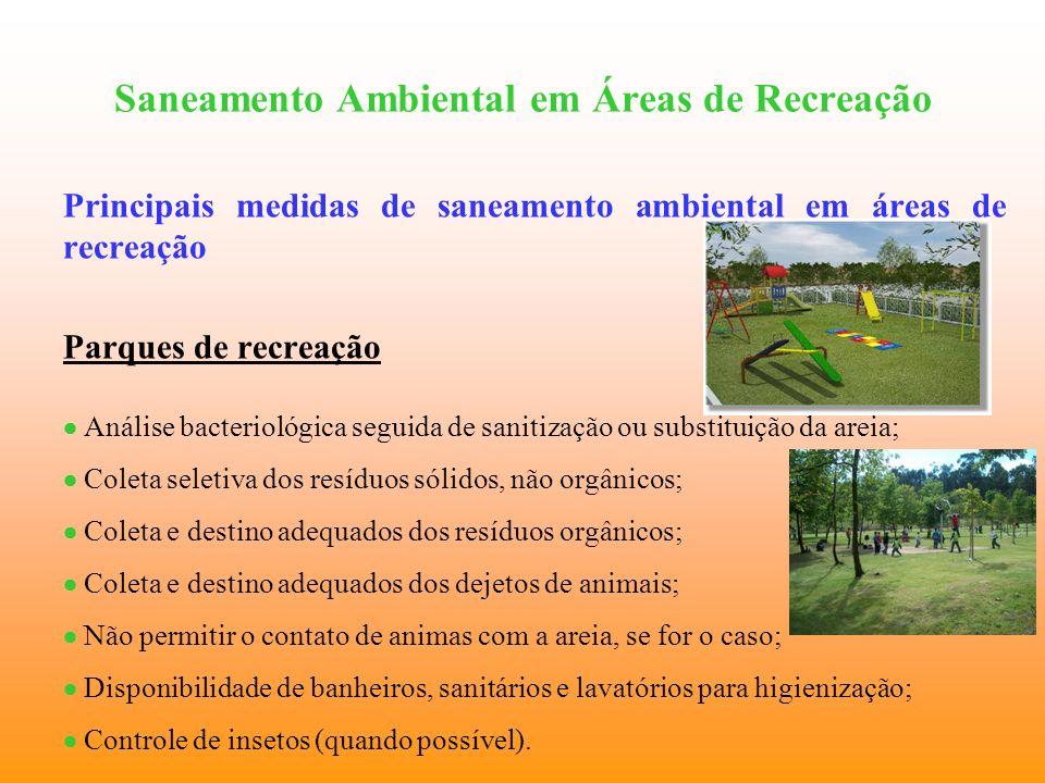 Saneamento Ambiental em Áreas de Recreação Principais medidas de saneamento ambiental em áreas de recreação Parques de recreação Análise bacteriológic