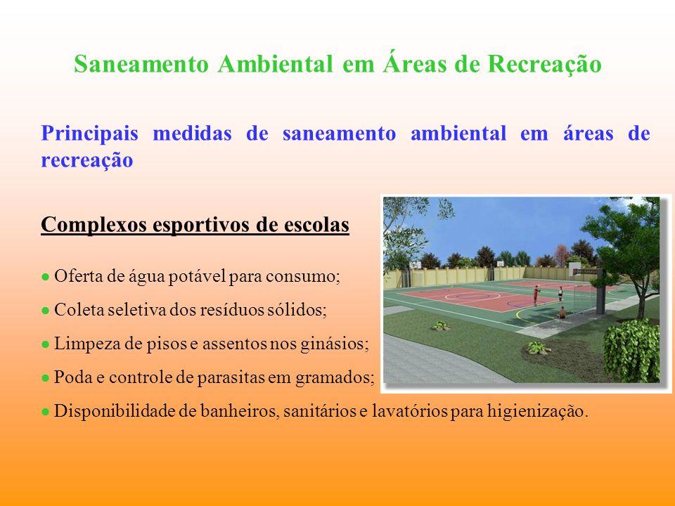 Saneamento Ambiental em Áreas de Recreação Principais medidas de saneamento ambiental em áreas de recreação Complexos esportivos de escolas Oferta de