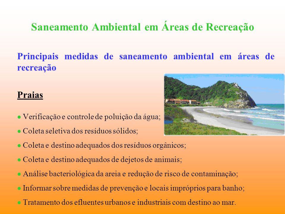 Saneamento Ambiental em Áreas de Recreação Principais medidas de saneamento ambiental em áreas de recreação Praias Verificação e controle de poluição