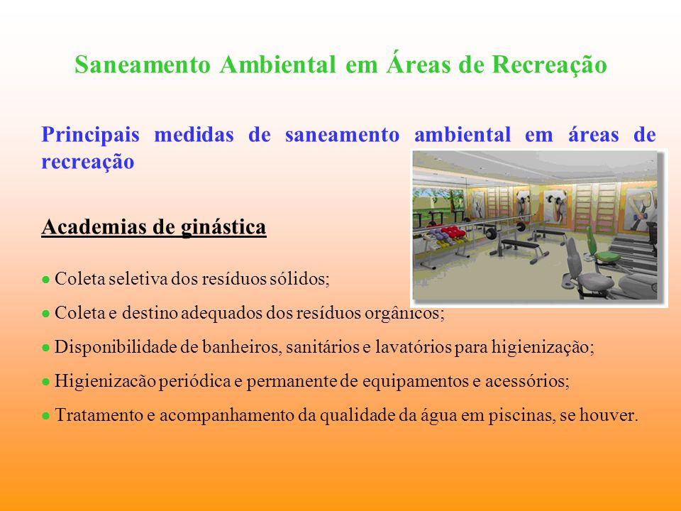 Saneamento Ambiental em Áreas de Recreação Principais medidas de saneamento ambiental em áreas de recreação Academias de ginástica Coleta seletiva dos