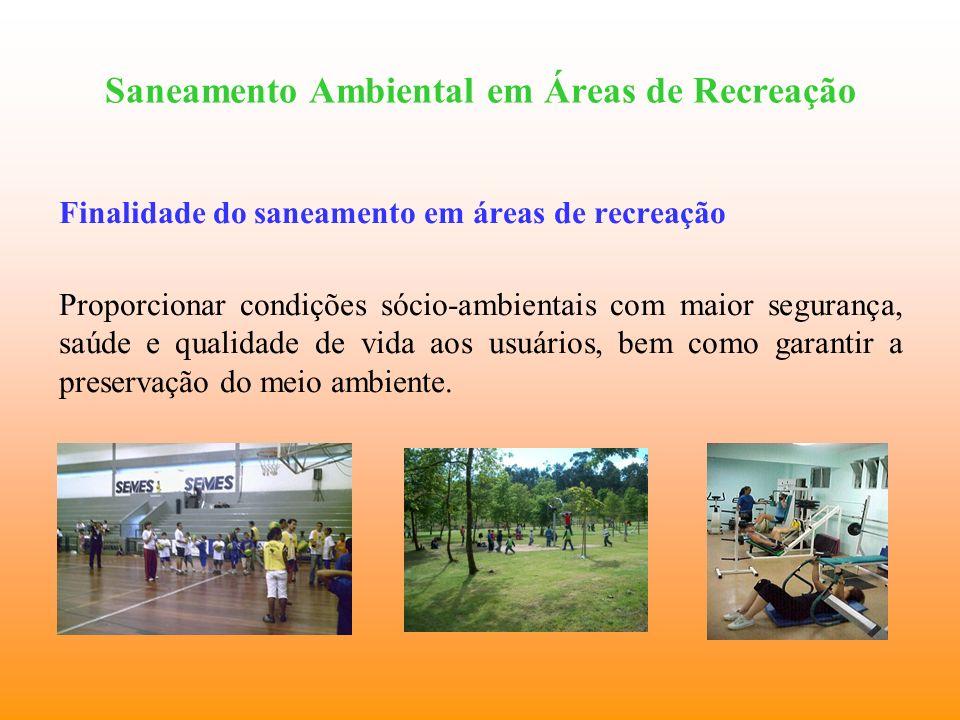 Saneamento Ambiental em Áreas de Recreação Finalidade do saneamento em áreas de recreação Proporcionar condições sócio-ambientais com maior segurança,