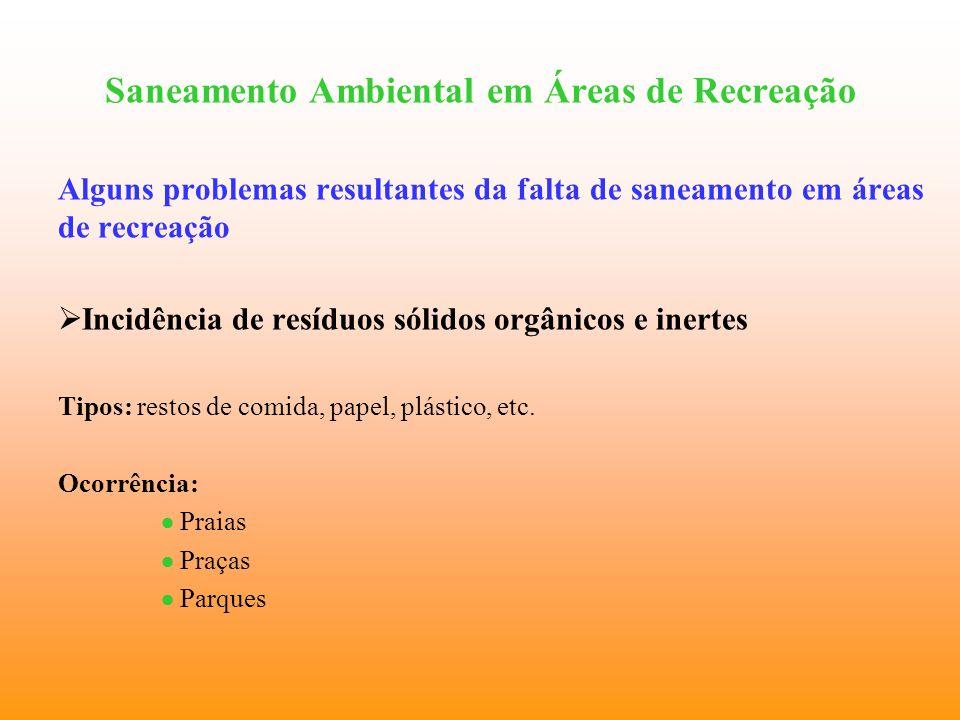 Saneamento Ambiental em Áreas de Recreação Alguns problemas resultantes da falta de saneamento em áreas de recreação Incidência de resíduos sólidos or