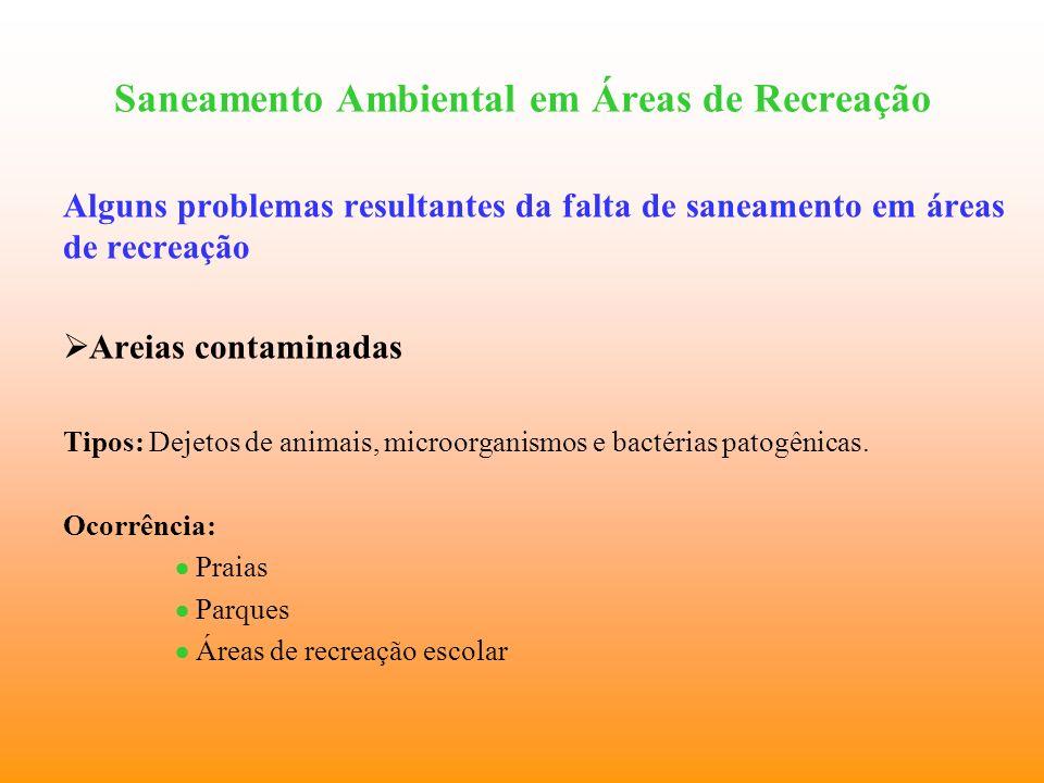 Saneamento Ambiental em Áreas de Recreação Alguns problemas resultantes da falta de saneamento em áreas de recreação Areias contaminadas Tipos: Dejeto