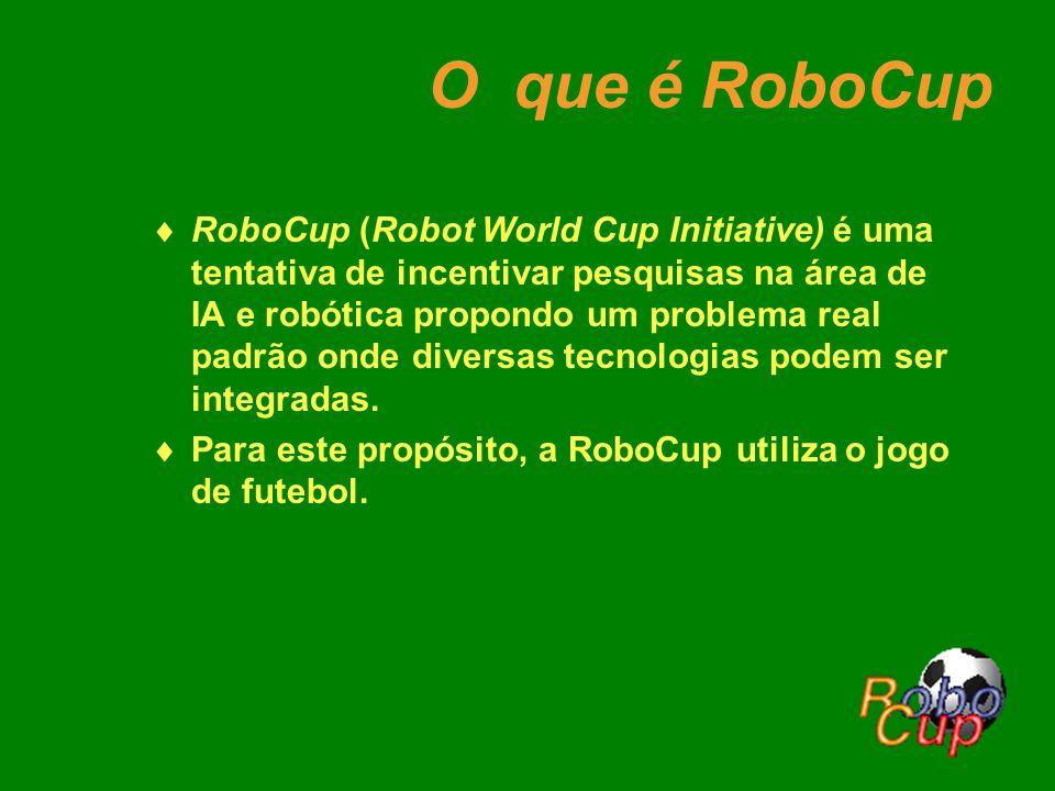 O que é RoboCup RoboCup (Robot World Cup Initiative) é uma tentativa de incentivar pesquisas na área de IA e robótica propondo um problema real padrão