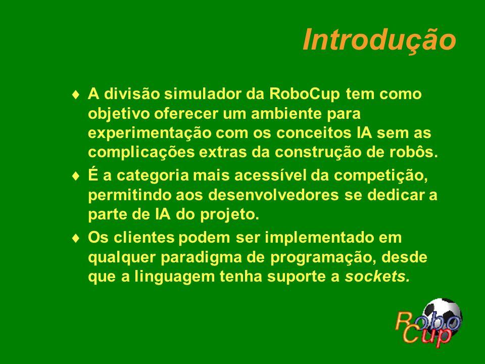 Introdução A divisão simulador da RoboCup tem como objetivo oferecer um ambiente para experimentação com os conceitos IA sem as complicações extras da