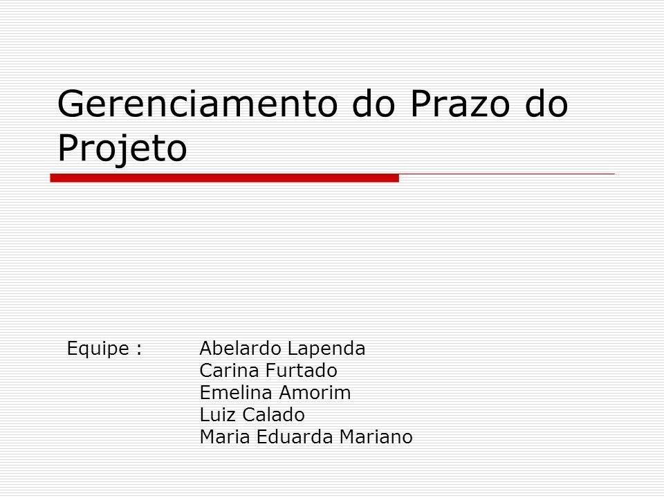 Gerenciamento do Prazo do Projeto Equipe : Abelardo Lapenda Carina Furtado Emelina Amorim Luiz Calado Maria Eduarda Mariano