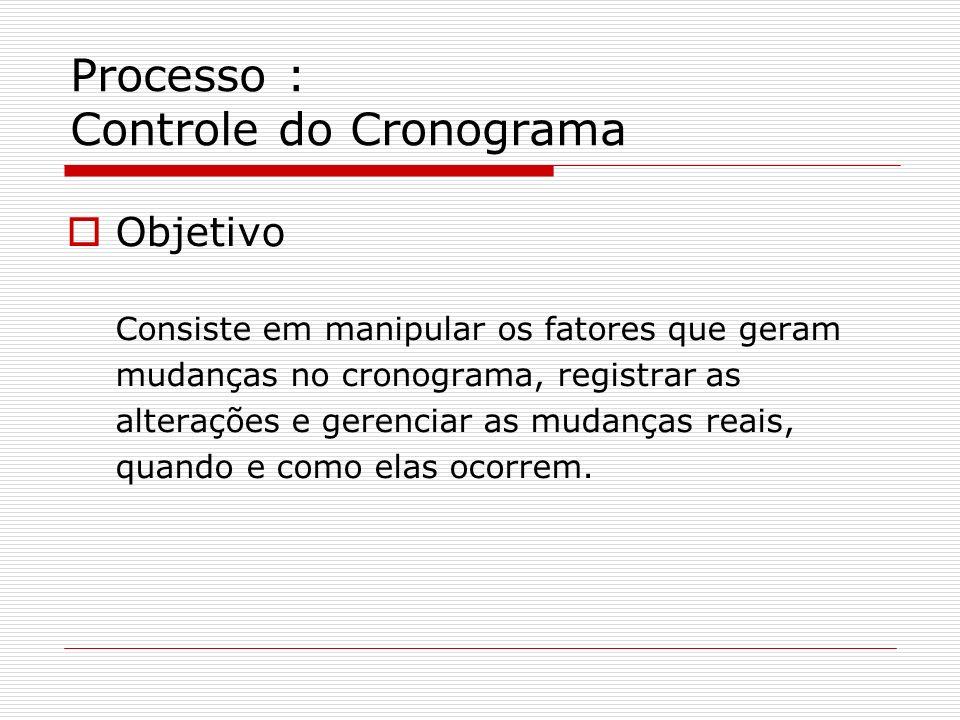 Processo : Controle do Cronograma Objetivo Consiste em manipular os fatores que geram mudanças no cronograma, registrar as alterações e gerenciar as m
