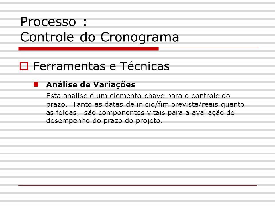 Processo : Controle do Cronograma Ferramentas e Técnicas Análise de Variações Esta análise é um elemento chave para o controle do prazo. Tanto as data