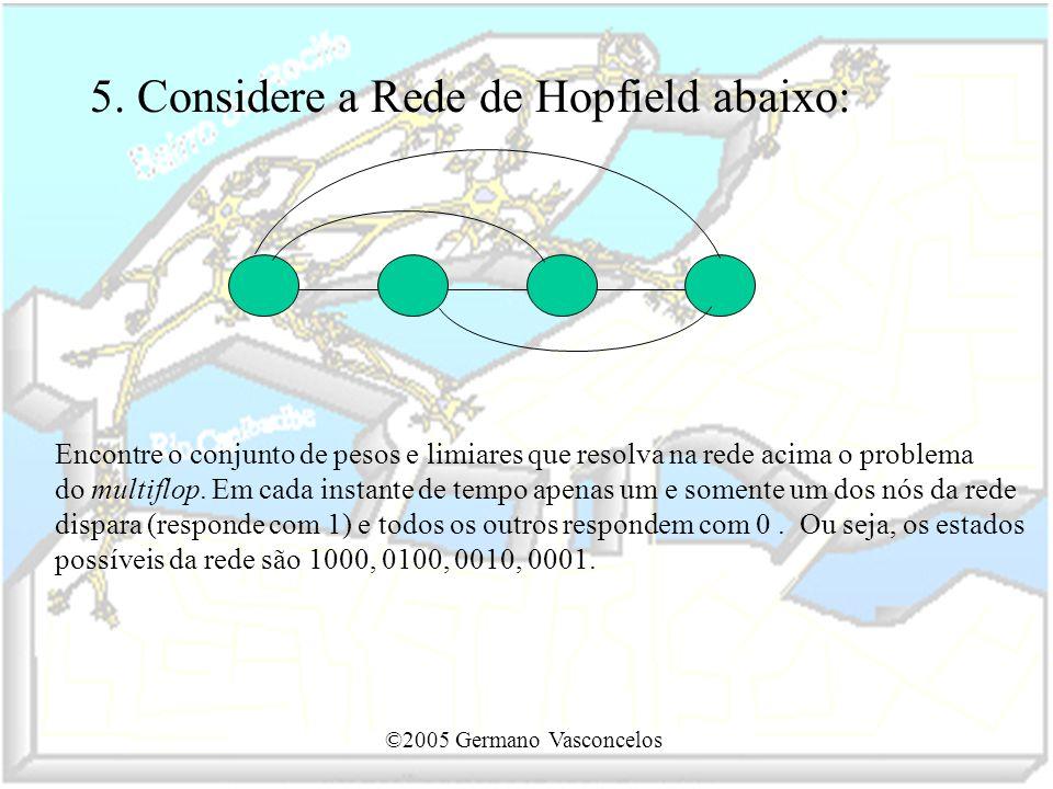 ©2005 Germano Vasconcelos 5. Considere a Rede de Hopfield abaixo: Encontre o conjunto de pesos e limiares que resolva na rede acima o problema do mult