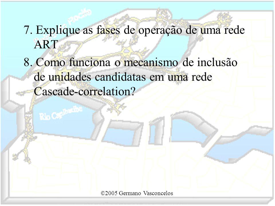 ©2005 Germano Vasconcelos 7. Explique as fases de operação de uma rede ART 8. Como funciona o mecanismo de inclusão de unidades candidatas em uma rede