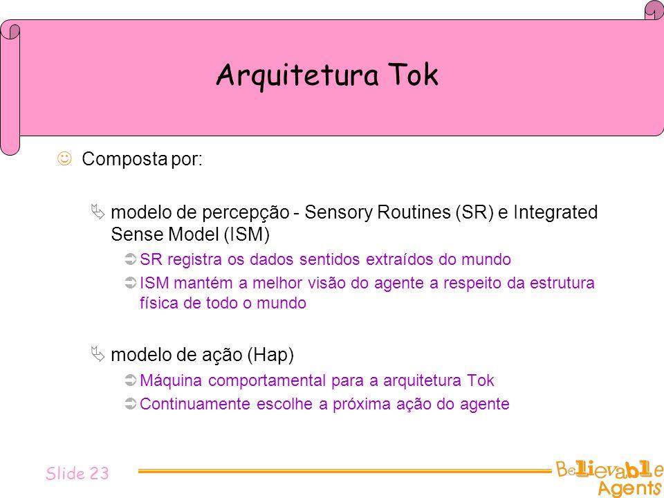 Arquitetura Tok Composta por: modelo de percepção - Sensory Routines (SR) e Integrated Sense Model (ISM) SR registra os dados sentidos extraídos do mu
