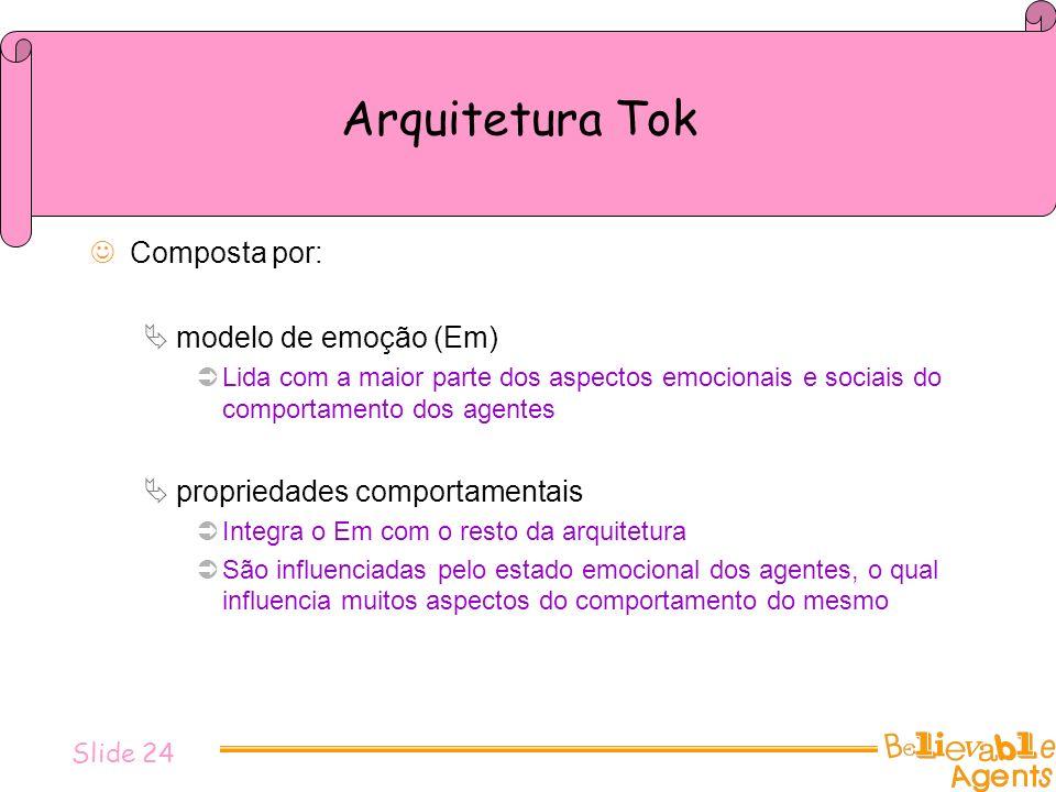 Arquitetura Tok Composta por: modelo de emoção (Em) Lida com a maior parte dos aspectos emocionais e sociais do comportamento dos agentes propriedades