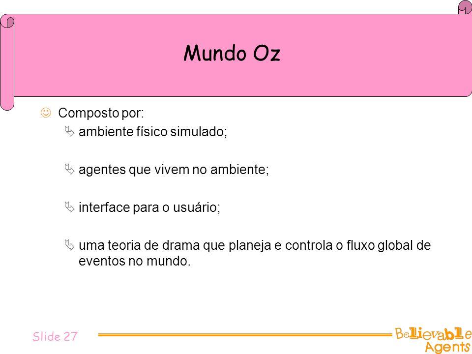 Mundo Oz Composto por: ambiente físico simulado; agentes que vivem no ambiente; interface para o usuário; uma teoria de drama que planeja e controla o