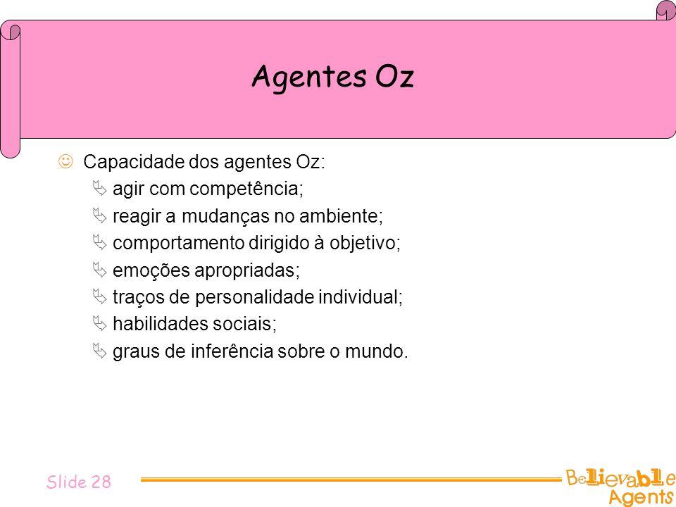 Agentes Oz Capacidade dos agentes Oz: agir com competência; reagir a mudanças no ambiente; comportamento dirigido à objetivo; emoções apropriadas; tra