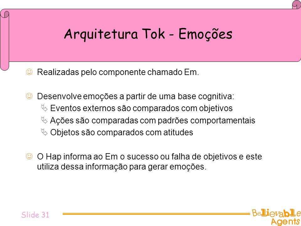 Arquitetura Tok - Emoções Realizadas pelo componente chamado Em. Desenvolve emoções a partir de uma base cognitiva: Eventos externos são comparados co