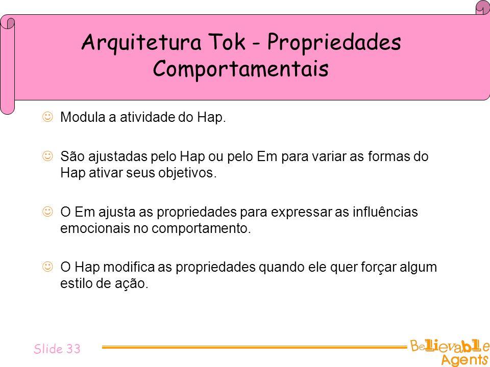 Arquitetura Tok - Propriedades Comportamentais Modula a atividade do Hap. São ajustadas pelo Hap ou pelo Em para variar as formas do Hap ativar seus o