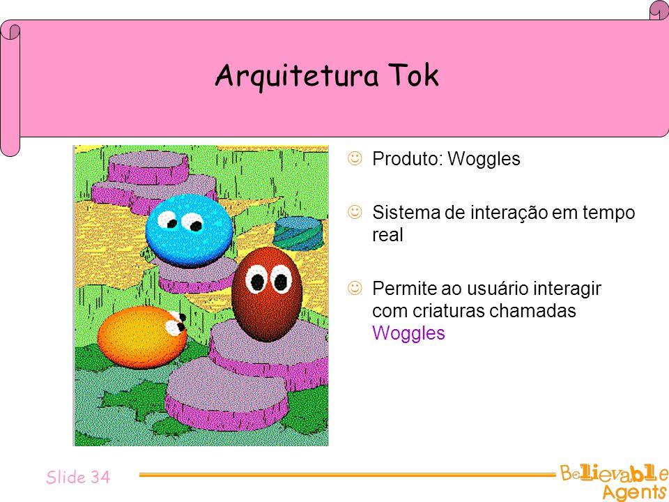 Slide 34 Arquitetura Tok Produto: Woggles Sistema de interação em tempo real Permite ao usuário interagir com criaturas chamadas Woggles
