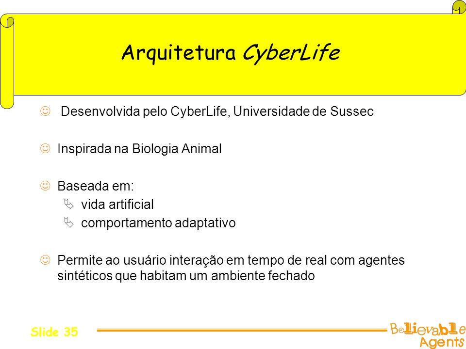 Arquitetura CyberLife Desenvolvida pelo CyberLife, Universidade de Sussec Inspirada na Biologia Animal Baseada em: vida artificial comportamento adapt