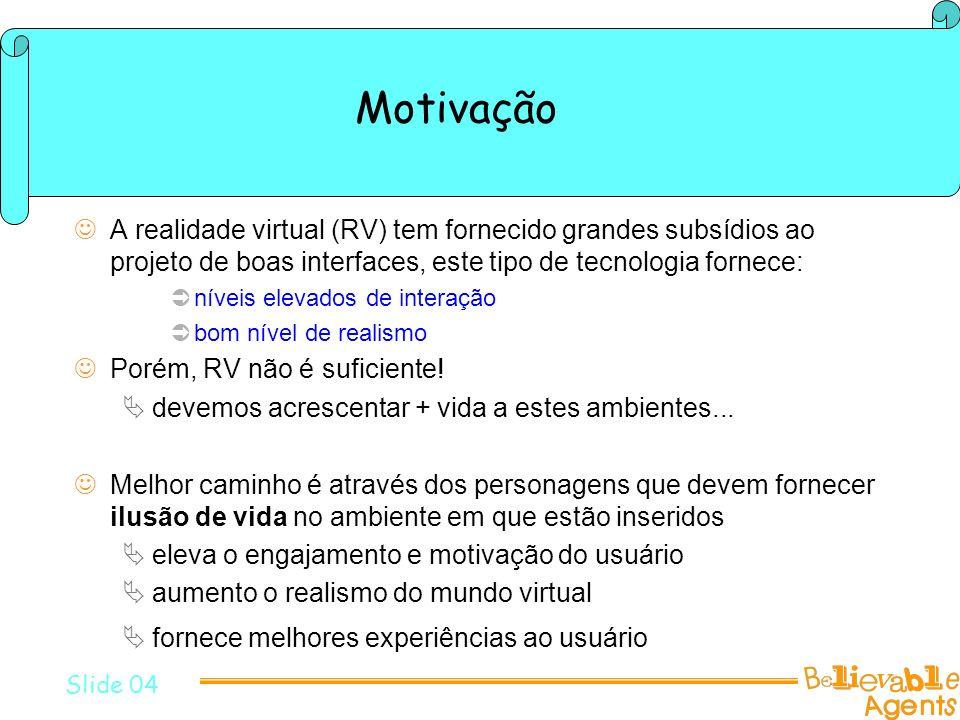 Motivação Para gerar ilusão de vida é preciso expressar e controlar Slide 06 personalidade Personagens (atores) com tais características podem ser implementados por agentes emoções atitudes