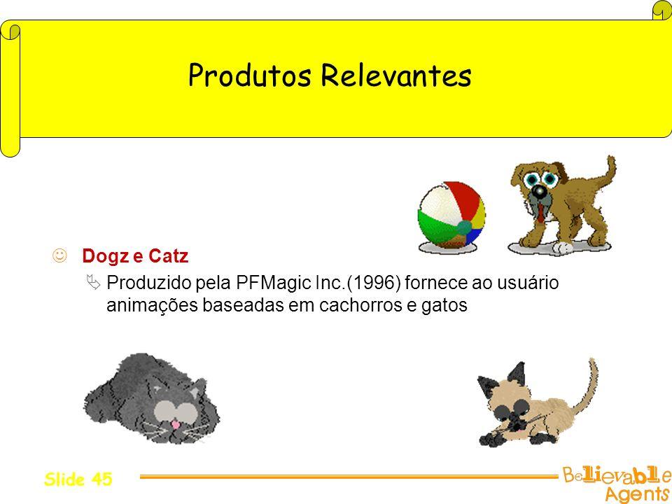Produtos Relevantes Dogz e Catz Produzido pela PFMagic Inc.(1996) fornece ao usuário animações baseadas em cachorros e gatos Slide 45