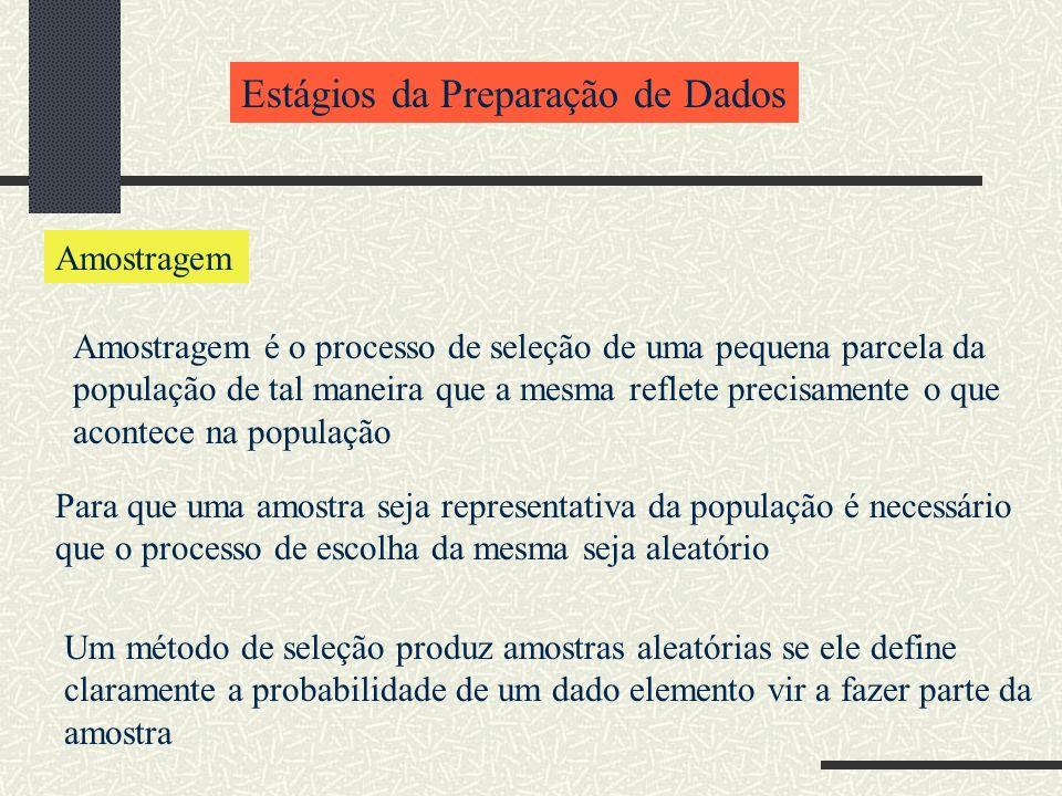 Estágios da Preparação de Dados Amostragem Amostragem é o processo de seleção de uma pequena parcela da população de tal maneira que a mesma reflete p