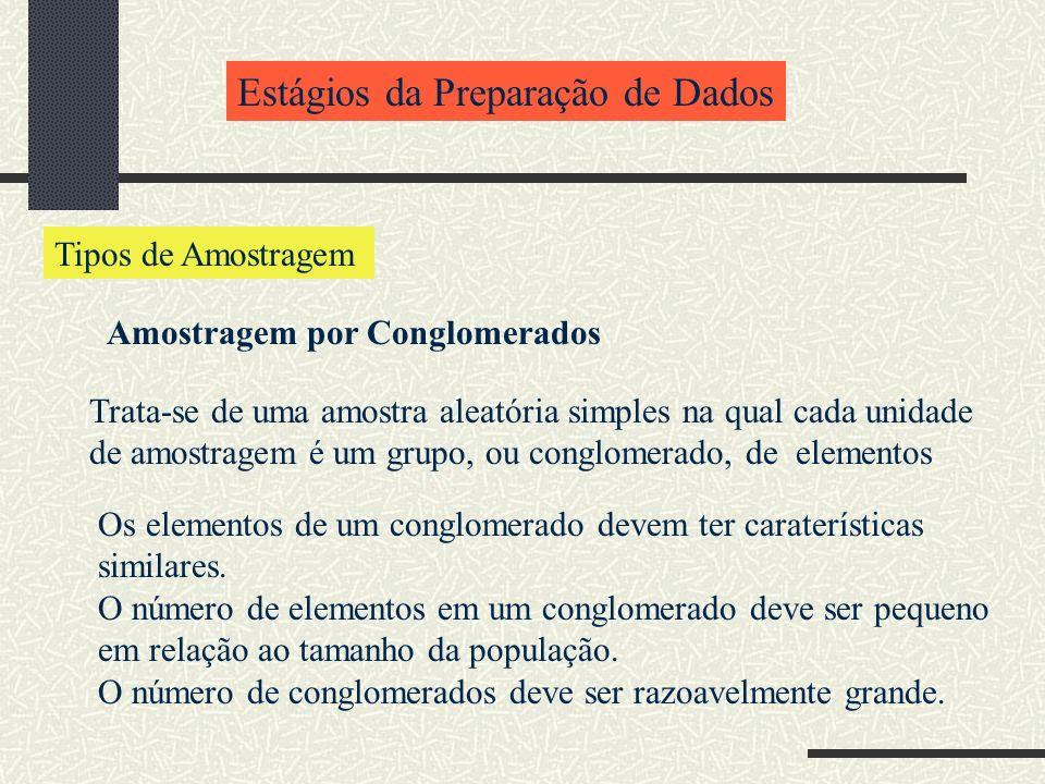 Estágios da Preparação de Dados Tipos de Amostragem Amostragem por Conglomerados Trata-se de uma amostra aleatória simples na qual cada unidade de amo