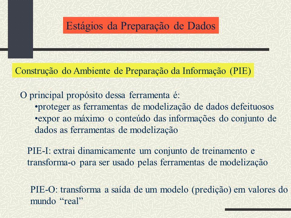 Estágios da Preparação de Dados Construção do Ambiente de Preparação da Informação (PIE) O principal propósito dessa ferramenta é: proteger as ferrame