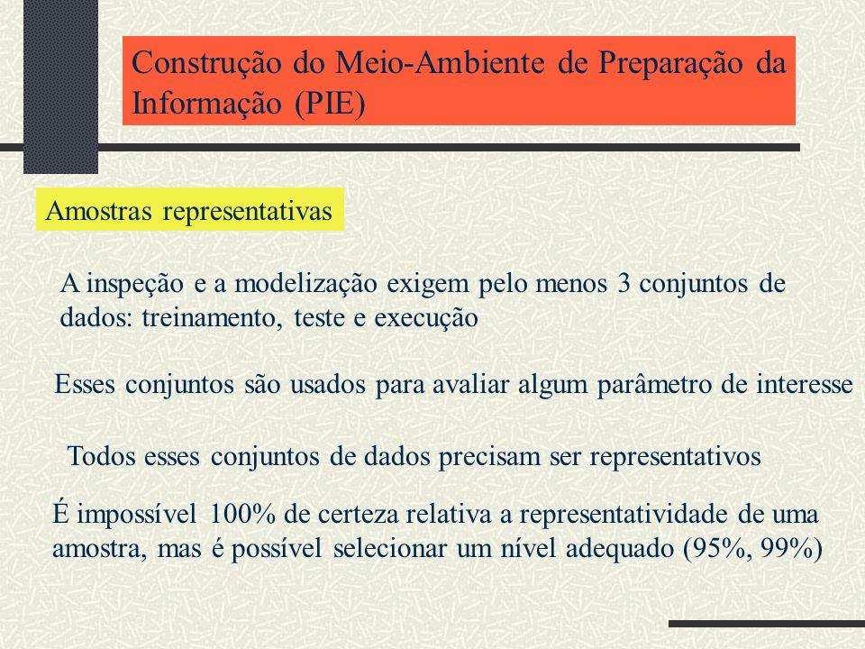 Construção do Meio-Ambiente de Preparação da Informação (PIE) Amostras representativas A inspeção e a modelização exigem pelo menos 3 conjuntos de dad